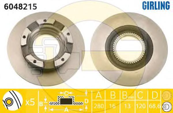 6048215 Диск тормозной FORD TRANSIT 2.2-2.4 TDCI 06- задний с кольцом АБС