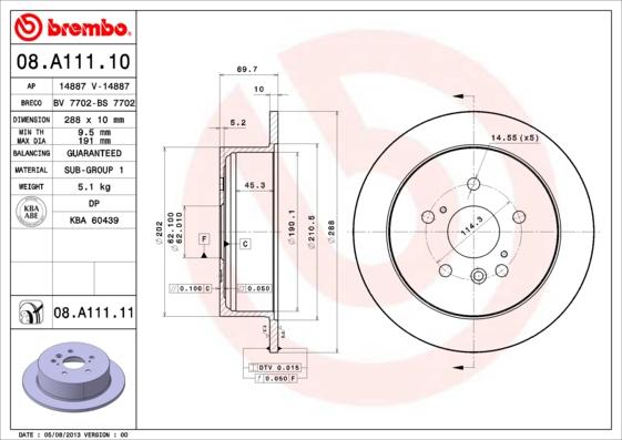 08A11110 Диск тормозной LEXUS RX300/RX330/RX350/RX400H задний