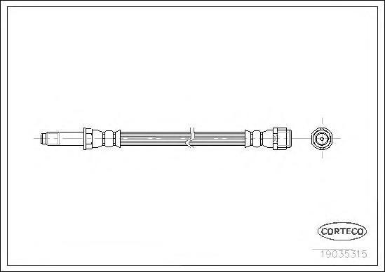 19035315 Шланг тормоз. Re L 280мм VW T5 03-