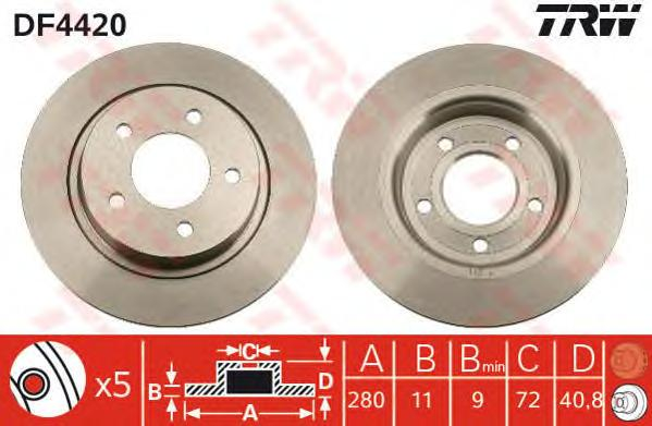 DF4420 Диск тормозной MAZDA 3 2.0-2.3 03-/5 1.6-2.0 05- задний