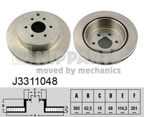 J3311048 Диск тормозной NISSAN PATHFINDER 05/NAVARA 05 задний
