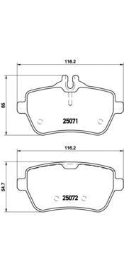 P50103 Колодки тормозные MERCEDES W222 13- задние
