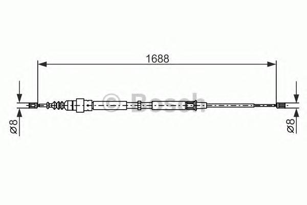 1987477696 Трос ручного тормоза VAG A3/G4/OCTAVIA 1688мм