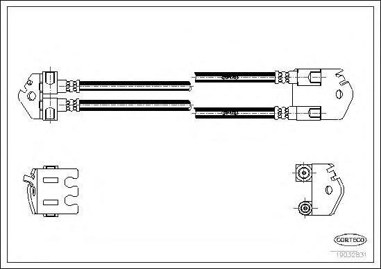 19032831 Шланг торм. задний Ford Transit <00-06 415мм