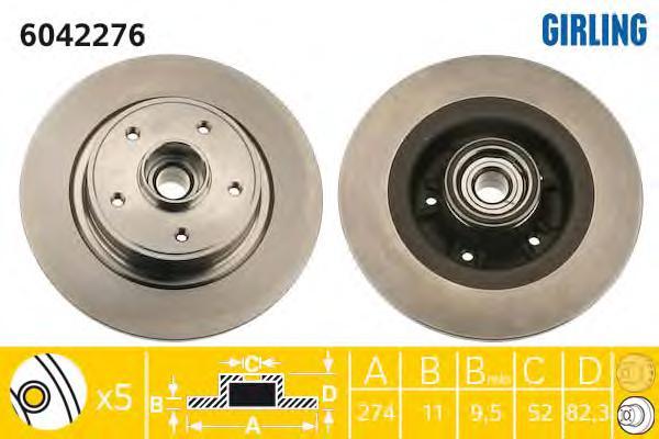 6042276 Диск тормозной RENAULT LAGUNA II 1.6-3.0 01- задний с подшипником