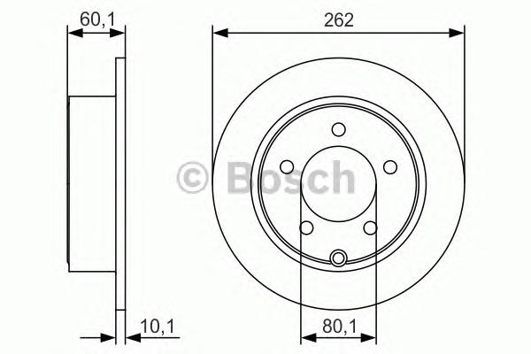 0986479R05 Диск тормозной CHRYSLER SEBRING/DODGE CALIBER/JEEP COMPASS 06- задний D=262мм.
