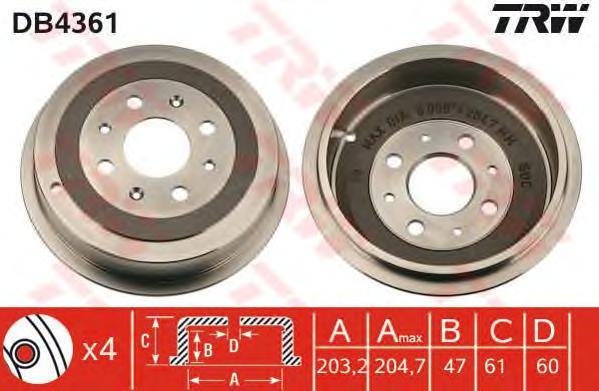 DB4361 Тормозной барабан OPEL CORSA D