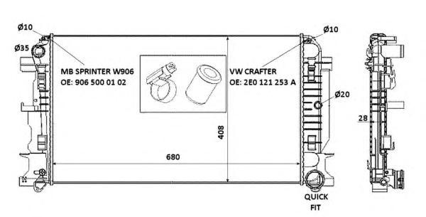 53885 Радиатор MB Sprinter/ WV Crafter 06-
