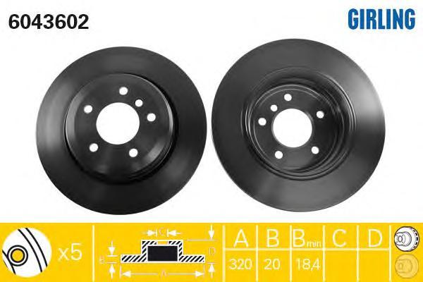 6043602 Диск тормозной BMW 5 E60/61 520-530 03-10 задний D=320мм.