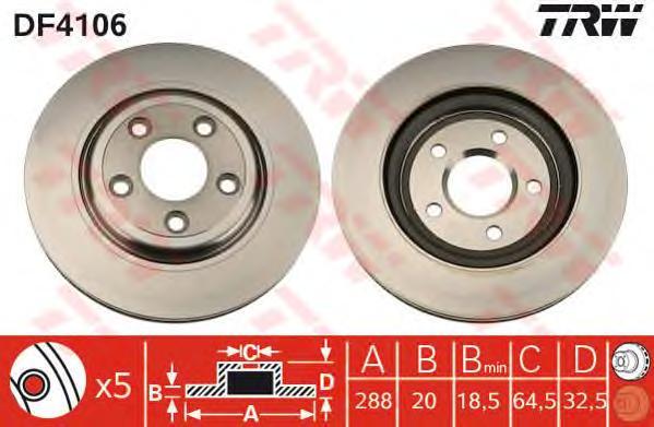DF4106 Диск тормозной JAGUAR S-TYPE 99-/XJ 03- задний вент.D=288мм.