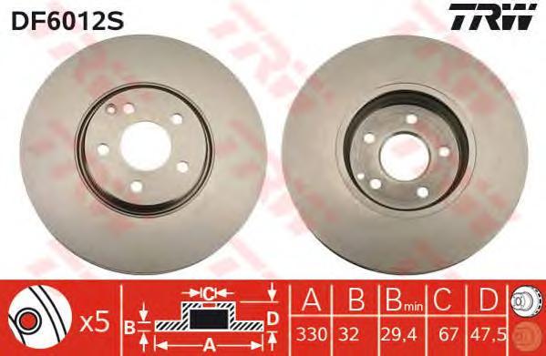 DF6012S Диск тормозной передн MERCEDES-BENZ: E-CLASS (W211) 02-, E-CLASS T-Model (S211) 03-