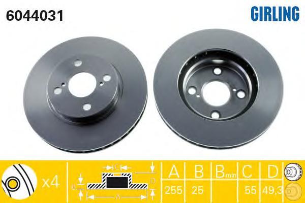 6044031 Диск тормозной TOYOTA COROLLA (E12) 06.0402.07 передний вент.