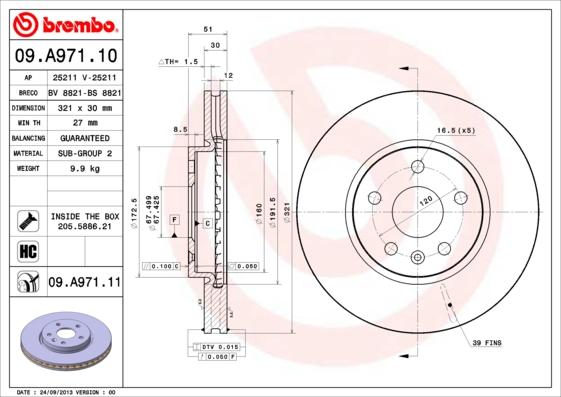 "09A97110 Диск тормозной OPEL INSIGNIA 08-/SAAB 9-5 10- R17"" передний вент.D=321мм."
