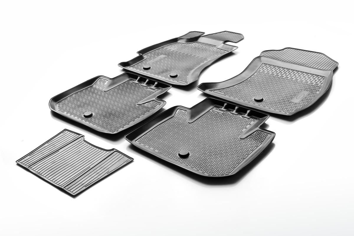 0012306002 Комплект автомобильных ковриков Hyundai Santa Fe III 2012- , полиуретан, низкий борт, 5 предметов, крепеж для передни