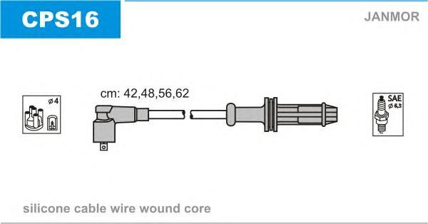 CPS16 Комплект проводов зажигания CITROEN: AX 86-98, BERLINGO 96-, SAXO 96-04, XSARA 97-05, ZX 91-97, PEUGEOT: 106 I 91-96, 106