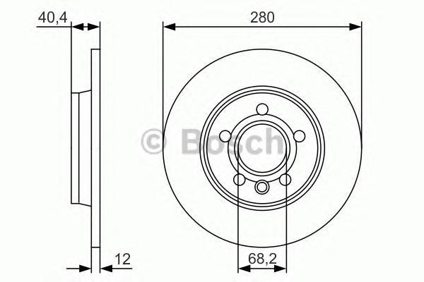 0986479R91 Диск тормозной VW TRANSPORTER IV 90-03 задний D=280мм.