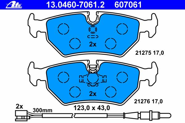 13046070612 Колодки тормозные дисковые задн, CITROEN: EVASION 1.8/1.9 TD/2.0/2.0 16V/2.0 HDI/2.0 HDI 16V/2.0 Turbo C.T./2.1 TD 9
