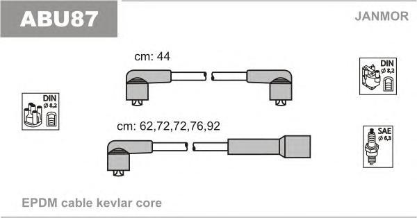 ABU87 Комплект проводов зажигания AUDI: 100 77-82, 100 82-84, 100 AVANT 77-83, 100 AVANT 82-84, 200 79-82, 200 83-88, 200 AVANT