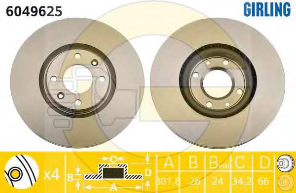 6049625 Диск тормозной PEUGEOT 308/3008/5008 07- передний вент.D=302мм.