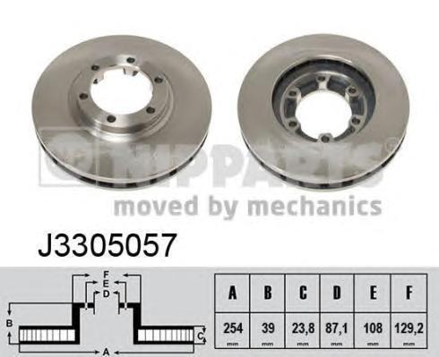 J3305057 Диск тормозной MITSUBISHI L200 96- передний вент.D=254мм.
