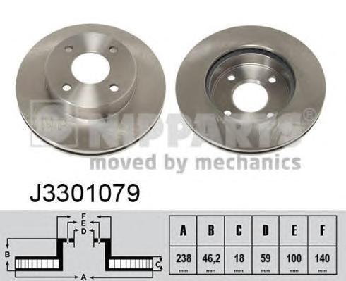 J3301079 Диск тормозной NISSAN MICRA 98-03 передний вент.D=238мм.