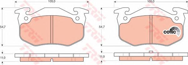 GDB1305 Колодки тормозные дисковые задн CITROEN: SAXO 96-03, XSARA 97-05, XSARA Break 97-05, XSARA купе 98-05, ZX 91-97, ZX Brea