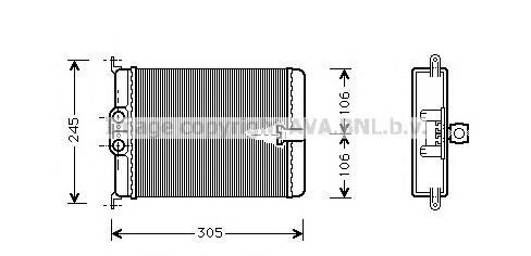 MS6187 Радиатор отопителя MB W140 2.8-6.0/3.0TD/3.5TD 94-