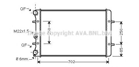 AI2129 Радиатор системы охлаждения AUDI: A3 (8L1) 1.6/1.8/1.8 quattro/1.8 T/1.8 T quattro/1.9 TDI/1.9 TDi quattro 96 - 03 , TT (
