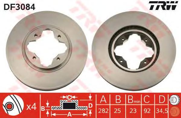 DF3084 Диск тормозной HONDA ACCORD 2.0-2.2 91-98 передний вент.D=282мм.