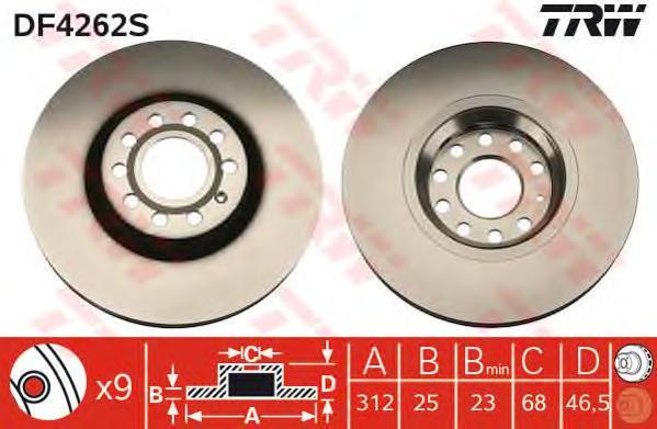 DF4262S Диск тормозной AUDI A4 00-/A6 97-05/VW PASSAT 00-05 передний D=312мм.
