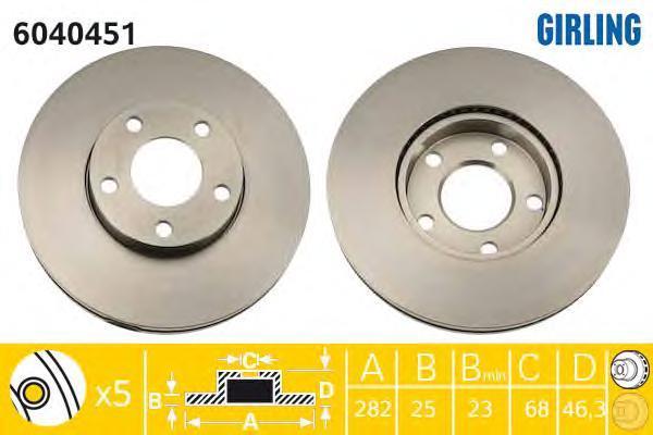 6040451 Диск тормозной VW PASSAT 1.6-2.8 10.96-04.98/1.8T 20V 00-05 передний D=282мм.