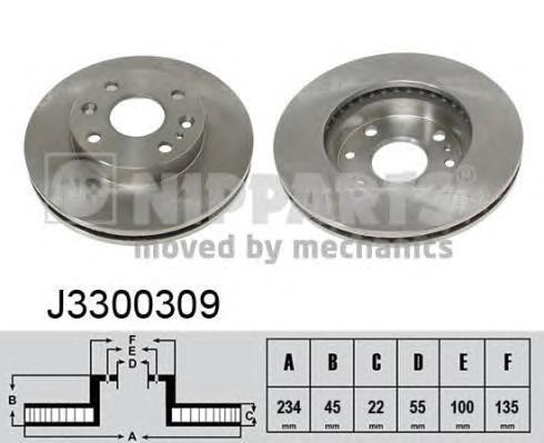 J3300309 Диск тормозной KIA RIO 1.3/1.5 00-05 передний