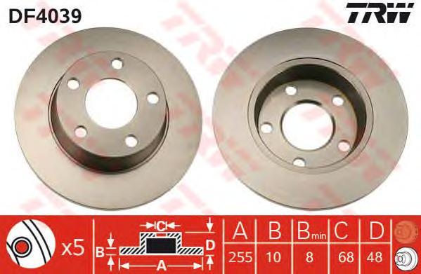 DF4039 Диск тормозной AUDI A6 qattro/A6 ALLROAD 1.8-4.2 97-05 задний D=255мм.