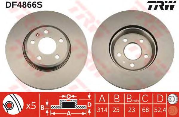 DF4866S Диск тормозной AUDI A4 07-/A5 07- передний D=314мм.