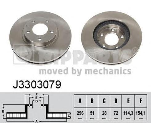 J3303079 Диск тормозной MAZDA MPV 02- передний вент.D=296мм.