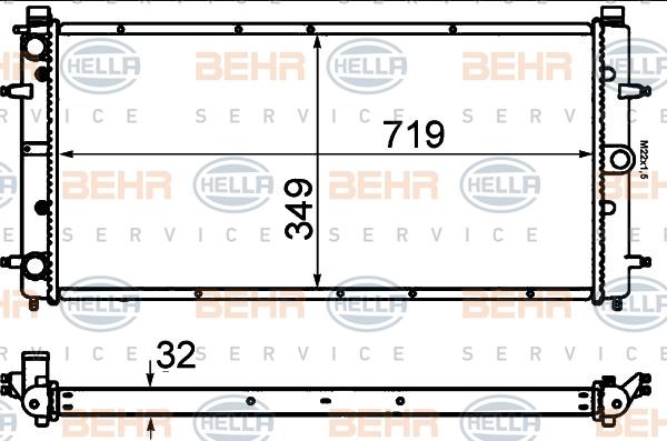 8MK376714481 Радиатор системы охлаждения VW: TRANSPORTER IV c бортовой платформой/ходовая часть (70XD) 1.9 D/1.9 TD/2.0/2.4 D/2.