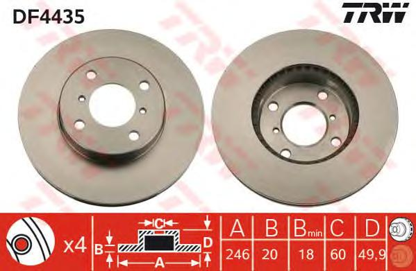 DF4435 Диск тормозной SUZUKI BALENO 1.8/1.9 96-02/LIANA 1.3-1.6 01- передний