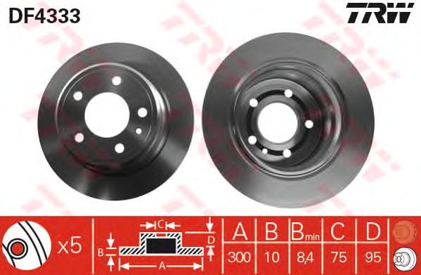 DF4333 Диск тормозной BMW E34 525iX 91-97 задний D=300мм.