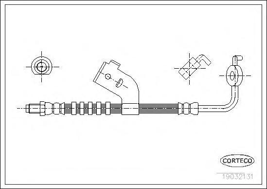 19032131 Шланг тормозной FORD: ESCORT -91 Express 1.3/1.4/1.8 D 90-94, ESCORT V 1.4/1.6/1.8 16V XR3i/1.8 D/RS 2000 90-92, ESCORT