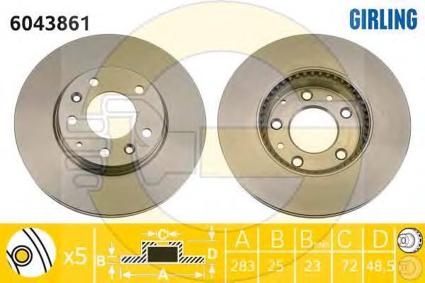 6043861 Диск тормозной MAZDA 6 2.0-2.3 02- передний вент.