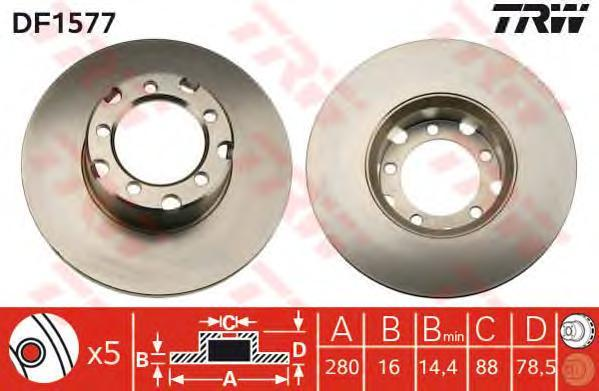 DF1577 Диск тормозной MERCEDES T1/T2 207-510 77-96 передний D=280мм.