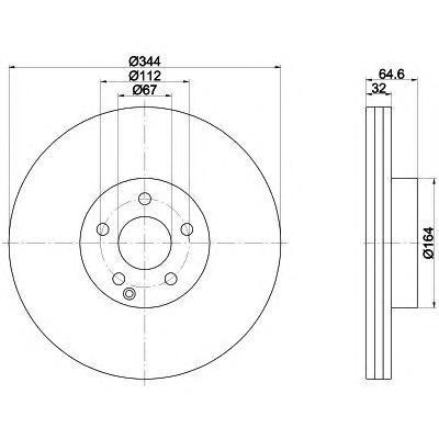 8DD355116951 Диск тормозной MERCEDES W204/212/207 передний D=344мм.