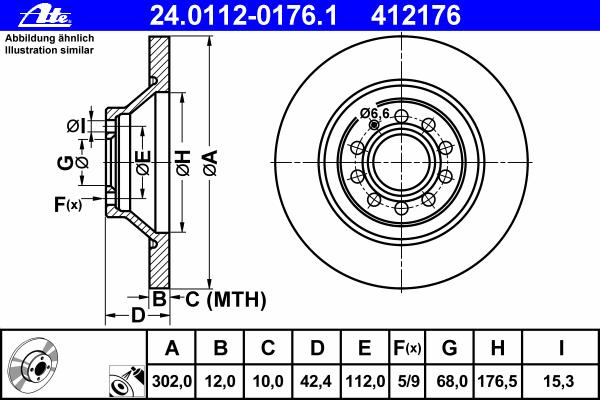 24011201761 Диск тормозной задн, AUDI: A6 Allroad 2.7 TDI quattro/3.0 TDI quattro/3.0 TFSI quattro/3.2 FSI quattro/4.2 FSI quatt