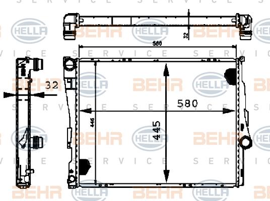 8MK376716241 Радиатор системы охлаждения BMW: 3 (E46) 316 i/318 d/318 i/320 d/320 i/323 i/325 i/325 xi/328 i/330 d/330 i/330 xd/