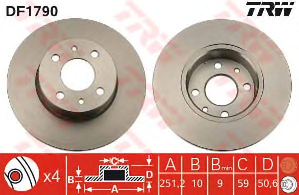 DF1790 Диск тормозной ALFA ROMEO 164/FIAT BRAVO/CROMA/MULTIPLA/STILO задний