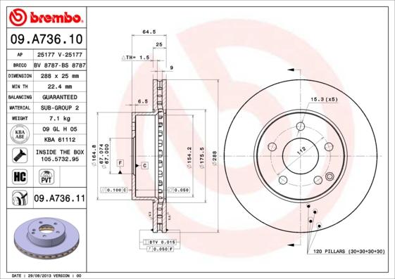 09A73611 Диск тормозной MERCEDES W204 180-200 07- передний