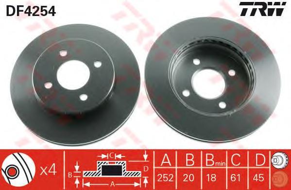 DF4254 Диск тормозной NISSAN ALMERA (N15) 95-00 передний вент.D=252мм.