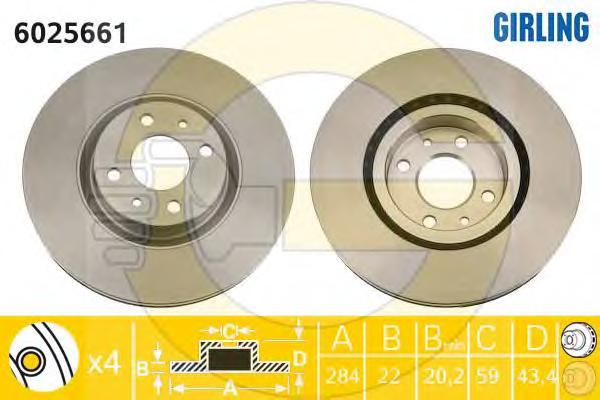 6025661 Диск тормозной FIAT 500 08-/BRAVO 07-/DOBLO 01-/STILO 01- передний