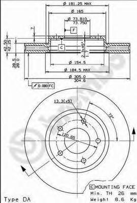 09773110 Диск тормозной JAGUAR XJ 3.2-4.0 97-03/XK8 4.0 96- передний D=300мм.