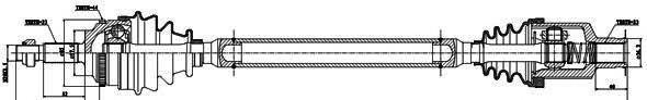 250039 Привод в сборе RENAULT MEGANE I/SCENIC 1.9DTI 01-03 прав. +ABS